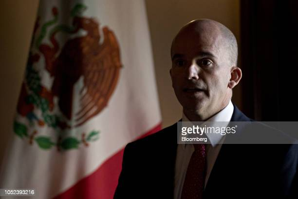 Jose Antonio Gonzalez Anaya Mexico's finance minister speaks during a signing ceremony event at the US Treasury in Washington DC US on Wednesday Oct...