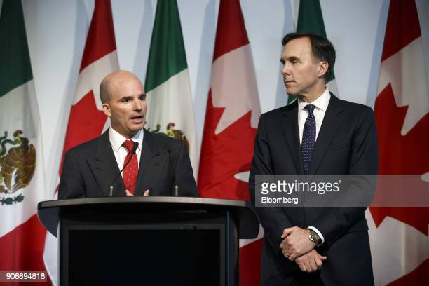 Jose Antonio GonzalezAnaya, Mexico's finance minister, left, speaks while Bill Morneau, Canada's finance minister, listens during a joint news...
