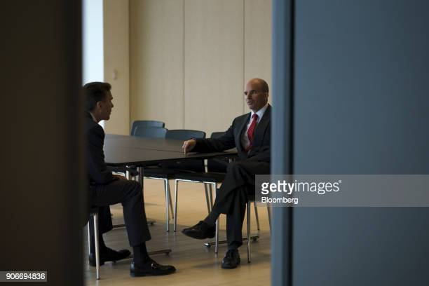 Jose Antonio GonzalezAnaya Mexico's finance minister left speaks with Bill Morneau Canada's finance minister before attending a joint news...