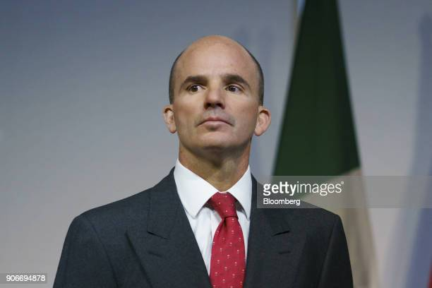 Jose Antonio GonzalezAnaya, Mexico's finance minister, stands during a news conference with Bill Morneau, Canada's finance minister, not pictured,...