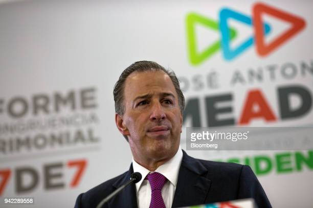 Jose Antonio Meade Institutional Revolutionary Party presidential candidate pauses while speaking during a press briefing in Mexico City Mexico on...