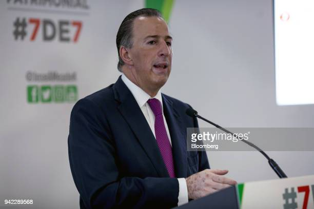 Jose Antonio Meade Institutional Revolutionary Party presidential candidate speaks during a press briefing in Mexico City Mexico on Thursday April 5...