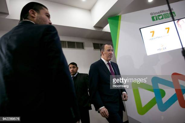 Jose Antonio Meade Institutional Revolutionary Party presidential candidate arrives to speak during a press briefing in Mexico City Mexico on...