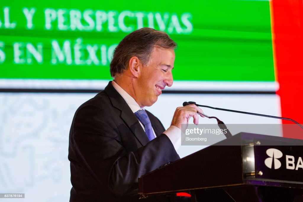 Jose Antonio Meade, Mexico's finance minister, smiles during a reception following the Banorte Strategy Annual forum in Mexico City, Mexico, on Tuesday, Aug. 22, 2017. The sixth annual meeting was titled, 'A Strong Mexico, In The Future Of Mexico.' Photographer: Brett Gundlock/Bloomberg via Getty Images