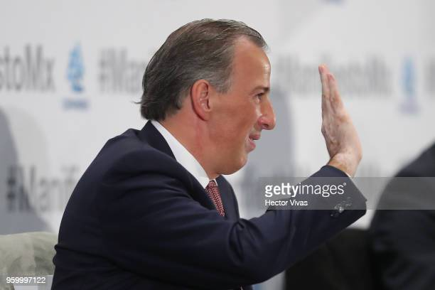 Jose Antonio Meade presidential candidate for the Coalition All For Mexico gestures during a conference as part of the 'Dialogues Mexico Manifesto'...