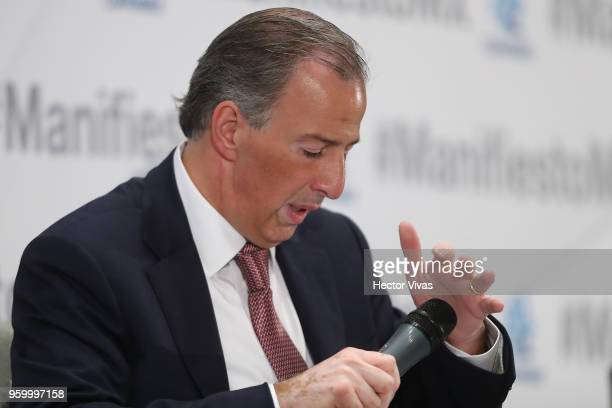 Jose Antonio Meade presidential candidate for the Coalition All For Mexico tests a microphone during a conference as part of the 'Dialogues Mexico...