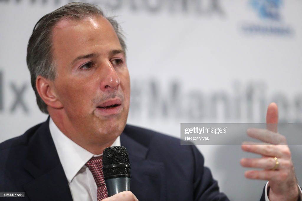Jose Antonio Meade presidential candidate for the Coalition All For Mexico (Todos por Mexico) speaks during a conference as part of the 'Dialogues: Mexico Manifesto' Event at Hilton Hotel on May 17, 2018 in Mexico City, Mexico.
