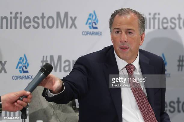 Jose Antonio Meade presidential candidate for the Coalition All For Mexico speaks during a conference as part of the 'Dialogues Mexico Manifesto'...