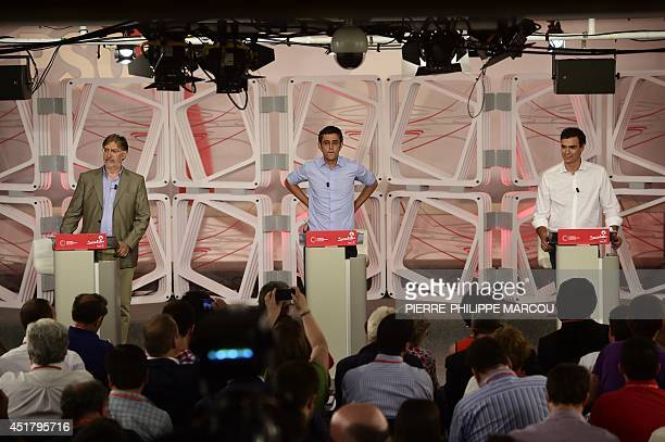Jose Antonio Perez Tapias Secretary General of the Socialist Parliamentary Group Eduardo Madina and Madrid's Deputy Pedro Sanchez candidates to...