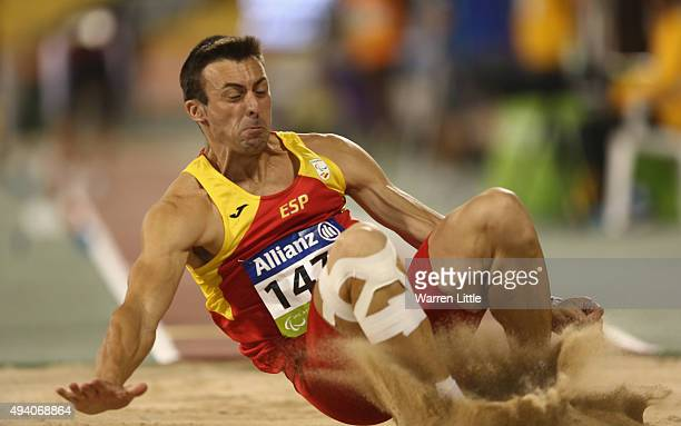 Jose Antonio Pineiro of Spain competes in the men's long jump T20 final during the Evening Session on Day Three of the IPC Athletics World...