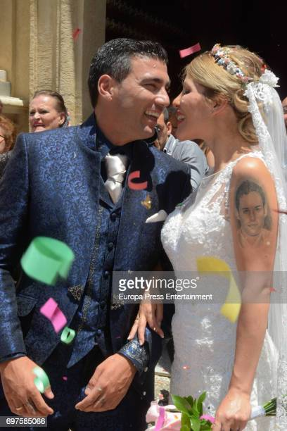 Jose Antonio Reyes and Noelia Lopez attend their wedding at Virgen de la Consolacion church on June 17 2017 in Utrera Spain