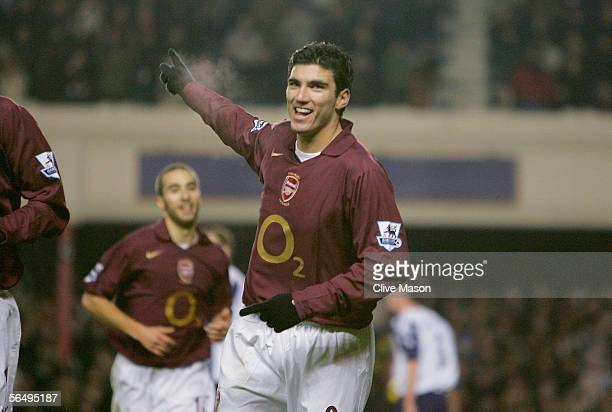 Jose Antonio Reyes of Arsenal celebrates scoring the second goal of the match during the Barclays Premiership match between Arsenal and Portsmouth at...