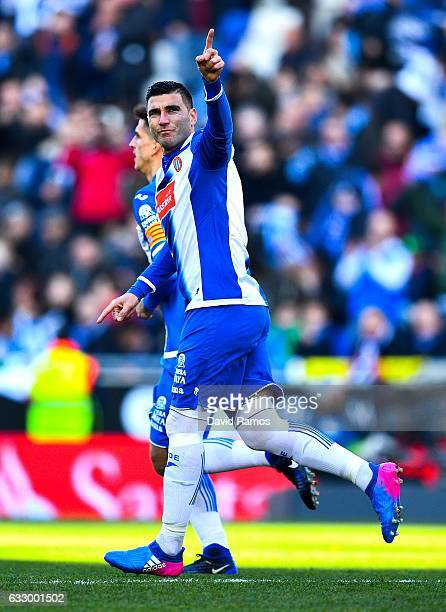Jose Antonio Reyes of RCD Espanyol celebrates after scoring his team's first goal from the penalty spot during the La Liga match between RCD Espanyol...