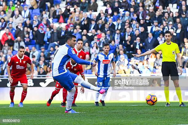 Jose Antonio Reyes of RCD Espanyol scores the opening goal from the penalty spot during the La Liga match between RCD Espanyol and Sevilla FC at...