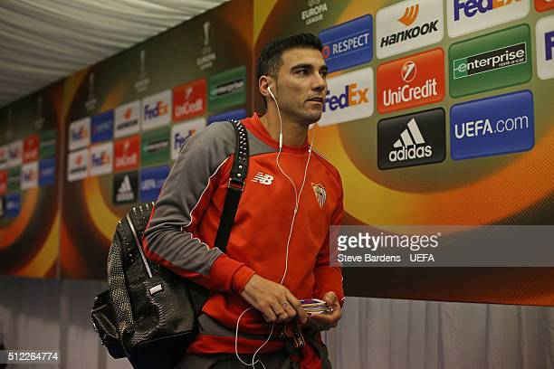 Jose Antonio Reyes of Sevilla arrives at the Aker Stadion prior to the UEFA Europa League Round of 32 second leg match between Molde and Sevilla at...