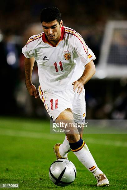 Jose Antonio Reyes of Spain runs with the ball during the group seven 2006 World Cup qualifying match between Spain and Belgium at El Sardinero...