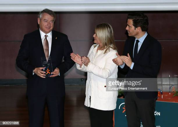 Jose Antonio Sanchez accompanied by Mari Mar Blanco receives Terrorism Victims Foundation Award at Reina Sofia Museum on January 15 2018 in Madrid...