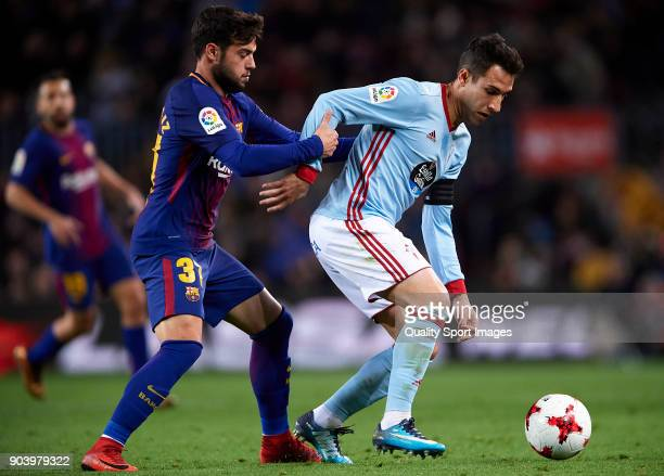Jose Arnaiz of Barcelona competes for the ball with Hugo Mallo of Celta during the Copa del Rey Round of 16 second Leg match between Barcelona and...