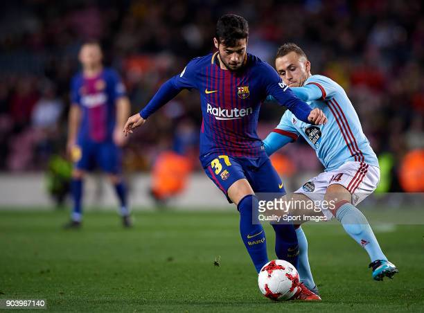 Jose Arnaiz of Barcelona competes for the ball with Stanislav Labotka of Celta Vigo during the Copa Del Rey 2nd leg match between Barcelona and Celta...