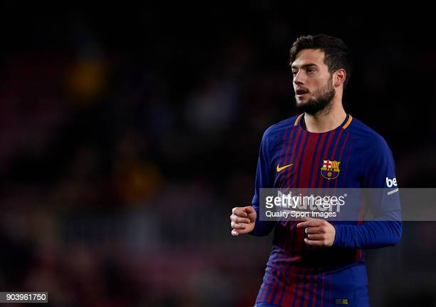 Jose Arnaiz of Barcelona looks on during the Copa del Rey Round of 16 second Leg match between Barcelona and Celta de Vigo at Camp Nou on January 11...