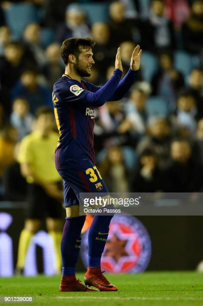 Jose Arnaiz of FC Barcelona celebrates after scores the first goal during the Copa del Rey round of 16 first leg match between RC Celta de Vigo and...