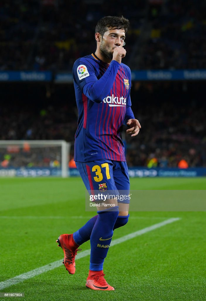 Jose Arnaiz of FC Barcelona celebrates after scoring his team's fifth goal during the Copa del Rey round of 32 second leg match between FC Barcelona and Real Murcia at Camp Nou on November 29, 2017 in Barcelona, Spain.
