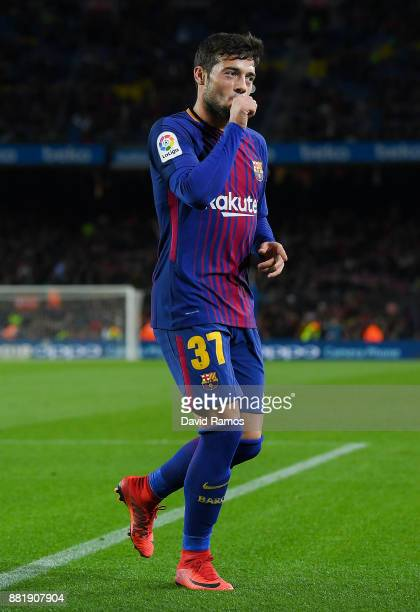Jose Arnaiz of FC Barcelona celebrates after scoring his team's fifth goal during the Copa del Rey round of 32 second leg match between FC Barcelona...