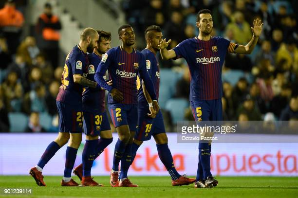 Jose Arnaiz of FC Barcelona celebrates with team mates after scores the first goal during the Copa del Rey round of 16 first leg match between RC...