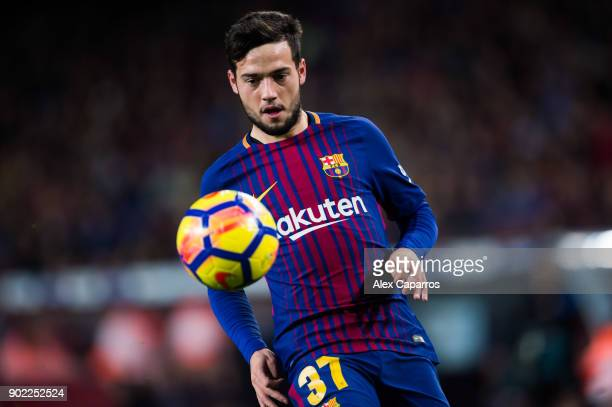 Jose Arnaiz of FC Barcelona controls the ball during the La Liga match between Barcelona and Levante at Camp Nou on January 7 2018 in Barcelona Spain