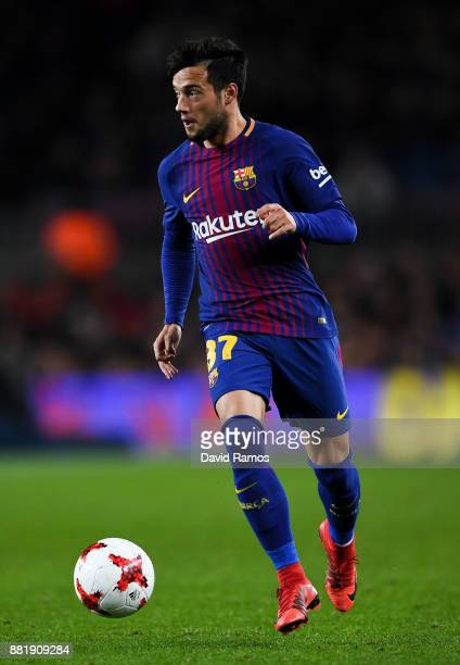Jose Arnaiz of FC Barcelona runs with the ball during the Copa del Rey round of 32 second leg match between FC Barcelona and Real Murcia at Camp Nou...