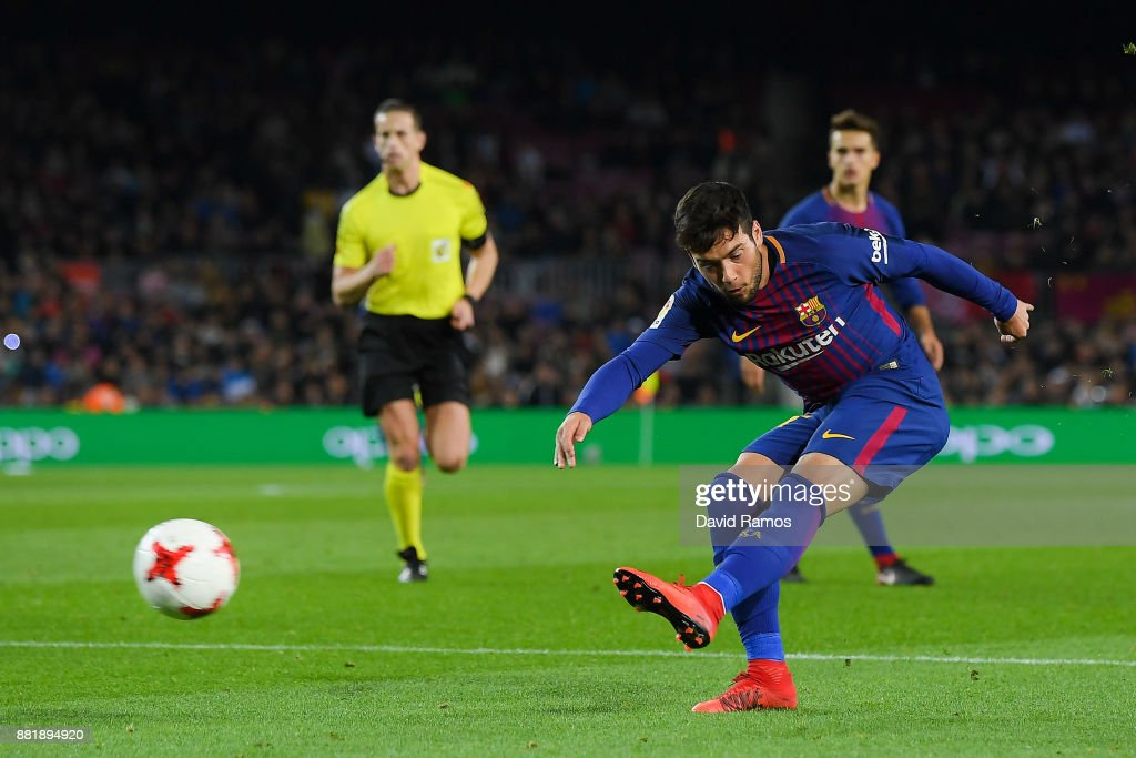 Jose Arnaiz of FC Barcelona scores his team's fifth goal during the Copa del Rey round of 32 second leg match between FC Barcelona and Real Murcia at Camp Nou on November 29, 2017 in Barcelona, Spain.