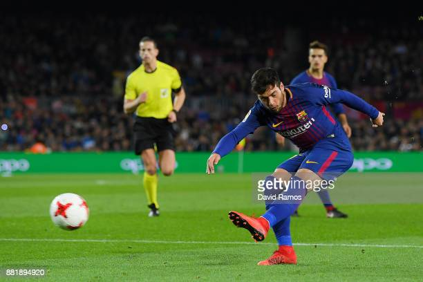 Jose Arnaiz of FC Barcelona scores his team's fifth goal during the Copa del Rey round of 32 second leg match between FC Barcelona and Real Murcia at...