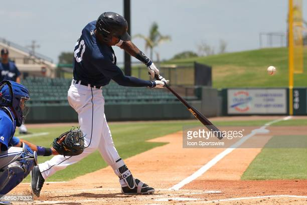 Jose Azocar of the Flying Tigers at bat during the Florida State League game between the Dunedin Blue Jays and the Lakeland Flying Tigers on May 28...