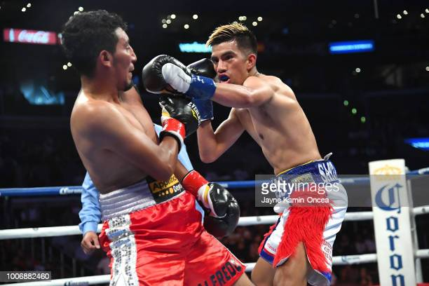 Jose Balderas and Alfredo Chanez during their Junior Flyweight fight at Staples Center on July 28 2018 in Los Angeles California Balderas won by...
