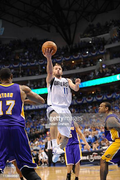 Jose Barea of the Dallas Mavericks shoots against Andrew Bynum of the Los Angeles Lakers during game Four of the Western Conference Semifinals in the...