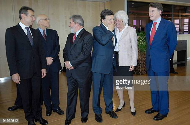 Jose Barroso third right president of the European Commission and Mariann Fischer Boel second right EU commissioner for agriculture and rural...