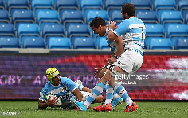 Jose BarrosSosa of Argentina celebrates a try during the World Rugby U20 Championship match between Argentina and Japan at AJ Bell Stadium on June 15...