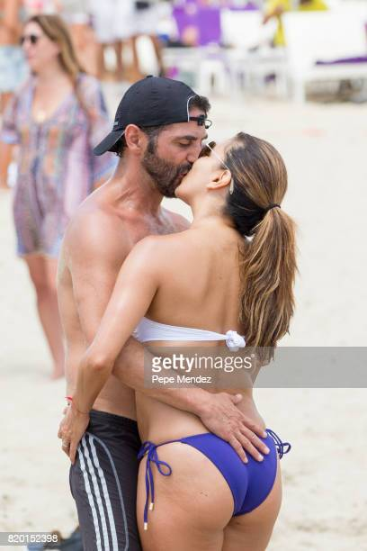 Jose Baston and Eva Longoria are seen during Global Gift Gala Party at Hard Rock Hotel Ibiza on July 21 2017 in Ibiza Spain