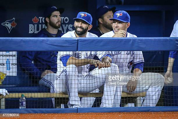 TORONTO ON MAY 5 Jose Bautista and Danny Valencia of the Toronto Blue Jays sit out on the bench with injuries that have plagued the Jays during the...