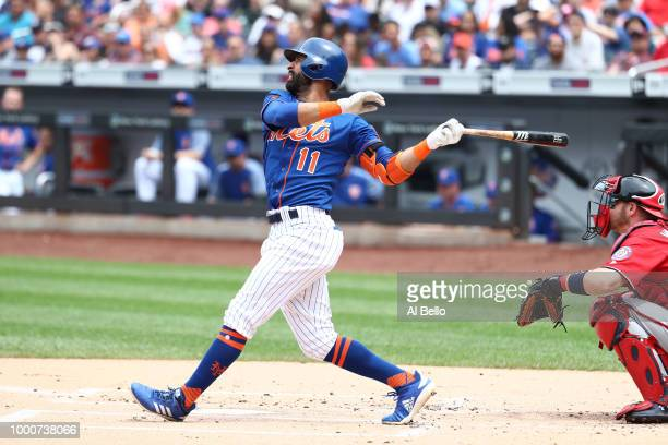 Jose Bautista of the New York Mets bats against the Washington Nationals during their game at Citi Field on July 15 2018 in New York City