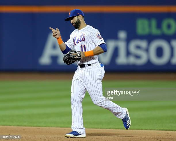 Jose Bautista of the New York Mets celebrates the 53 win over the San Francisco Giants on August 22 2018 at Citi Field in the Flushing neighborhood...