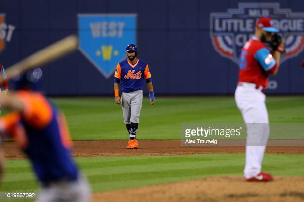 Jose Bautista of the New York Mets leads off second base during the 2018 Little League Classic against the Philadelphia Phillies at Historic Bowman...