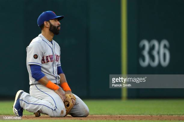 Jose Bautista of the New York Mets reacts against the Washington Nationals during the second inning at Nationals Park on July 31 2018 in Washington DC