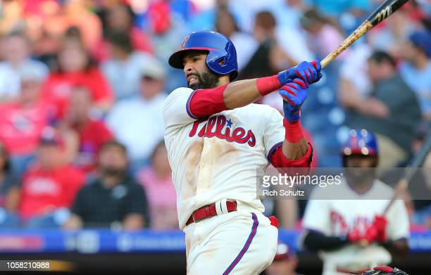 Jose Bautista of the Philadelphia Phillies in action against the Atlanta Braves during of a game at Citizens Bank Park on September 30 2018 in...