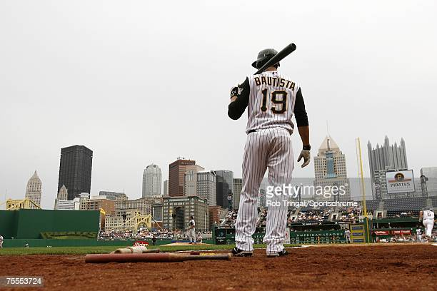 Jose Bautista of the Pittsburgh Pirates looks on from the on-deck circle against the Los Angeles Dodgers on June 3, 2007 at PNC Park in Pittsburgh,...