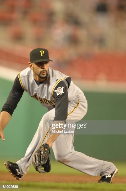 Jose Bautista of the Pittsburgh Pirates prepares field a gound ball during a baseball game against the Washington Nationals on May 1 2008 at...