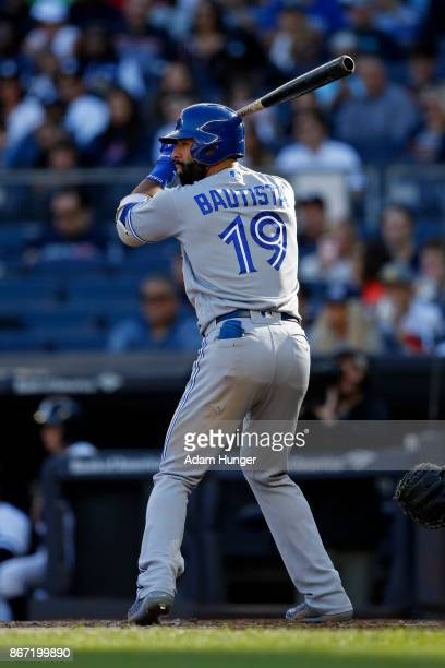 Jose Bautista of the Toronto Blue Jays at bat against the New York Yankees during the fourth inning at Yankee Stadium on October 1 2017 in the Bronx...
