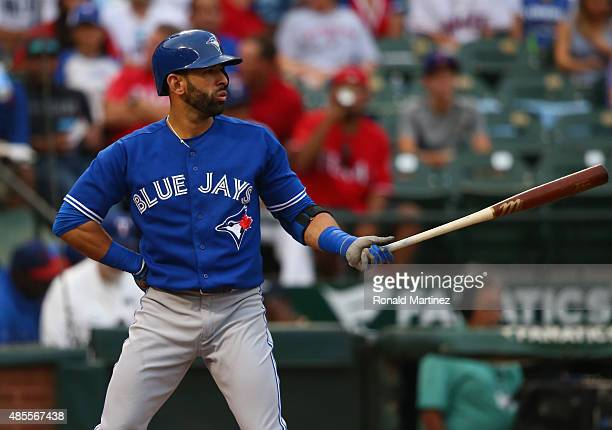 Jose Bautista of the Toronto Blue Jays at Globe Life Park in Arlington on August 25, 2015 in Arlington, Texas.