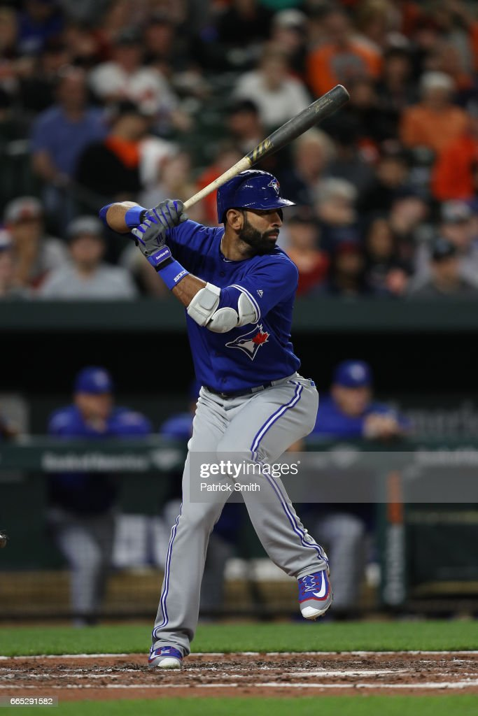 Jose Bautista #19 of the Toronto Blue Jays bats against the Baltimore Orioles at Oriole Park at Camden Yards on April 5, 2017 in Baltimore, Maryland.