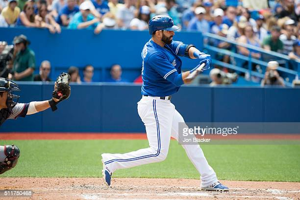 Jose Bautista of the Toronto Blue Jays bats during the game against the Minnesota Twins at the Rogers Centre on Monday August 3 2015 in Toronto...